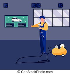 mechanic worker with compressor air vector illustration...
