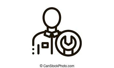 Mechanic Wrench Icon Animation. black Mechanic Wrench animated icon on white background