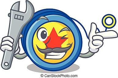 Mechanic yoyo mascot cartoon style vector illustration