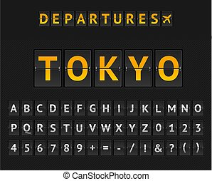 Mechanical Airport Flip Board Tokio and Set of Letters and Numbers . Vector