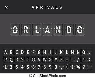 Mechanical airport flip scoreboard font with flight info of arrival destination in USA Orlando. Vector illustration