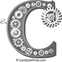 Mechanical alphabet made from gears. Letter c
