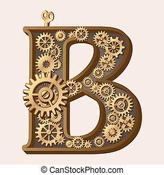 Mechanical alphabet made from gears. Letter b