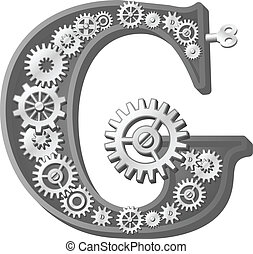 Mechanical alphabet made from gears. Letter g