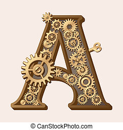 Mechanical alphabet made from gears. Letter a