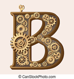 Mechanical alphabet made from gears. Letter b