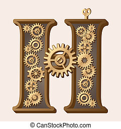 Mechanical alphabet made from gears. Letter h