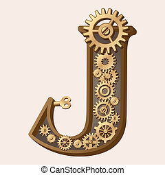 Mechanical alphabet made from gears. Letter j