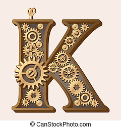 Mechanical alphabet made from gears. Letter k