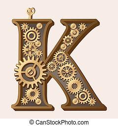Mechanical alphabet made from gears. Letter k