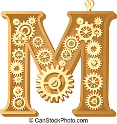 Mechanical alphabet made from gears. Letter m
