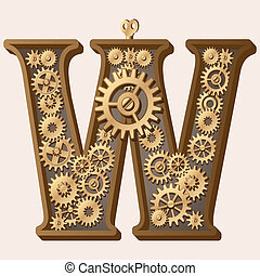 Mechanical alphabet made from gears. Letter w
