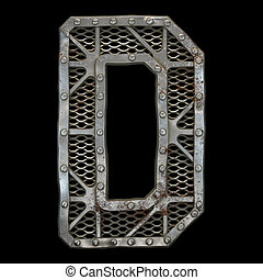 Mechanical alphabet made from rivet metal with gears on black background. Letter D. 3D