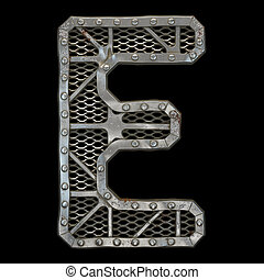 Mechanical alphabet made from rivet metal with gears on black background. Letter E. 3D