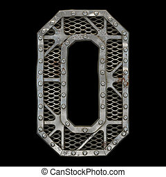 Mechanical alphabet made from rivet metal with gears on black background. Letter O. 3D