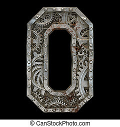 Mechanical alphabet made from rivet metal with gears on black background. Number 0. 3D