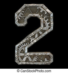 Mechanical alphabet made from rivet metal with gears on black background. Number 2. 3D