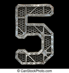 Mechanical alphabet made from rivet metal with gears on black background. Number 5. 3D