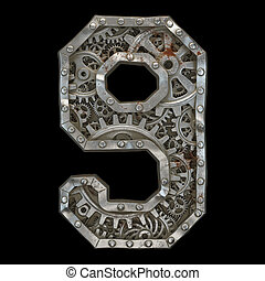 Mechanical alphabet made from rivet metal with gears on black background. Number 9. 3D