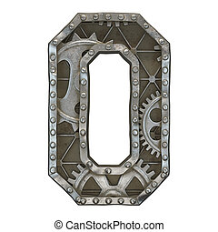 Mechanical alphabet made from rivet metal with gears on white background. Number 0. 3D