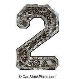 Mechanical alphabet made from rivet metal with gears on white background. Number 2. 3D