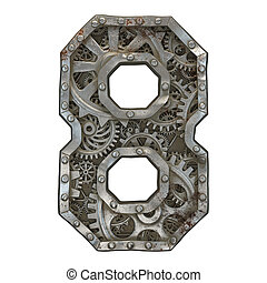 Mechanical alphabet made from rivet metal with gears on white background. Number 8. 3D
