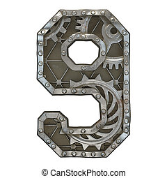 Mechanical alphabet made from rivet metal with gears on white background. Number 9. 3D