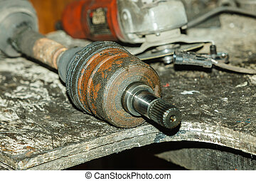 Car joints in workshop.