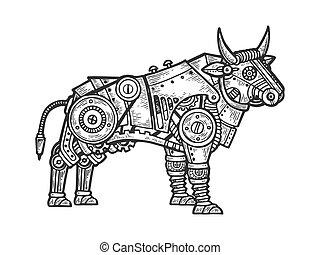Mechanical bull animal engraving vector illustration....