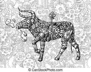 Mechanical bull. Hand drawn vector steampunk animal