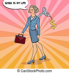 Mechanical Business Woman Going to Work with Dollar Sign Key...