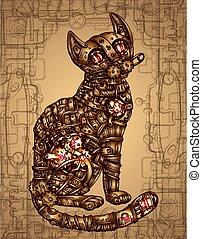 Mechanical cat. Hand drawn vector illustration.