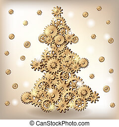 Mechanical Christmas tree made of golden of cogs and gears