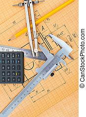 mechanical circuit, a ruler, compass, calipers