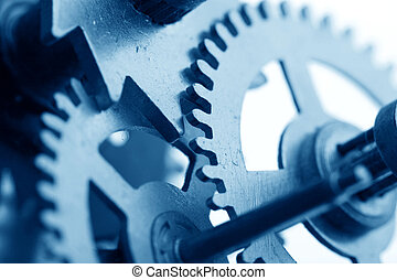 mechanical clock gear macro close up isolated