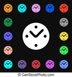 Mechanical Clock icon sign. Lots of colorful symbols for your design. Vector
