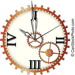 Mechanical clock with arrows on white background, vector illustration