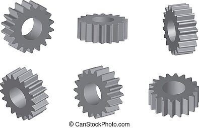 Mechanical cogwheel set in 3D
