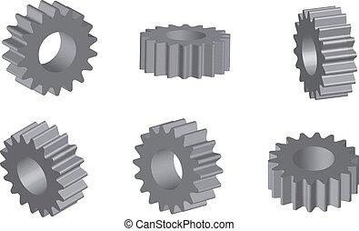 Mechanical cogwheel set in 3D