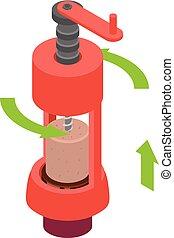Mechanical corkscrew icon, isometric style - Mechanical...