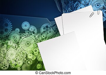 Mechanical Design Background. Blank Paper Sheets, Clips and...
