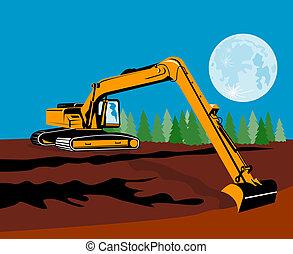 Mechanical digger - Illustration on construction equipments