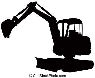 Mechanical Digger Excavator Retro - Illustration of a...