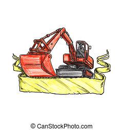 Mechanical Digger Excavator Ribbon Tattoo