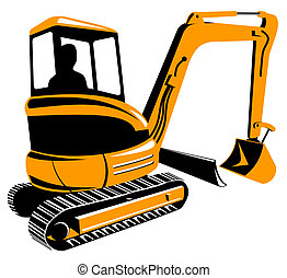 Mechanical Digger - Illustration on construction equipment