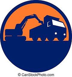 Mechanical Digger Loading Dump Truck Circle Retro