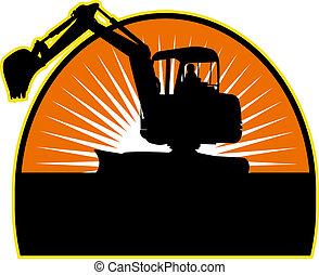 Mechanical Digger with sunburst in background - illustration...