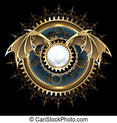Mechanical dragon wings with a lens - Round banner with ...