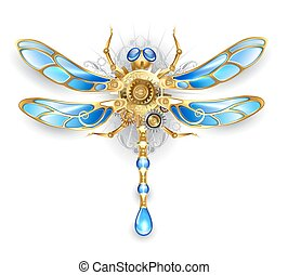mechanical dragonfly wings with blue glass and bronze gears on a white background