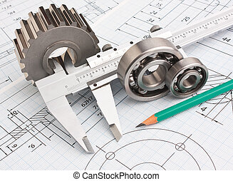 mechanical drawing and pinion - technical drawing and pinion...